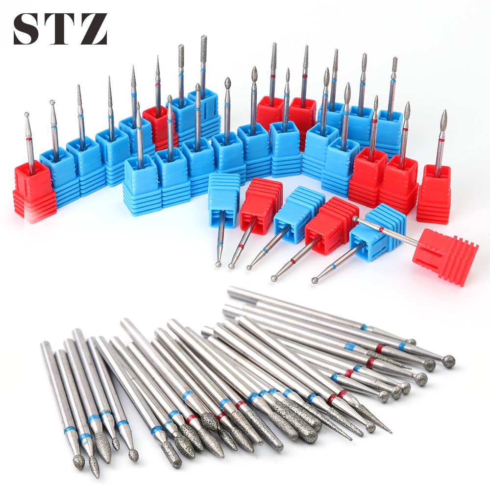 STZ 1pcs Diamond Cutters For Manicure Nail Drill Bits Milling Cuticle Electric Machine Remover Pedicure Files Nail Tools #01-29