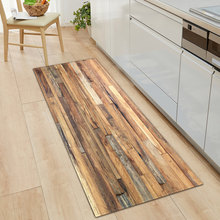 Kitchen Mat Bedroom Living Room Carpet Entrance Doormat Home Hallway Balcony Floor Mat Wood Pattern Bathroom Anti-Slip Long Rug