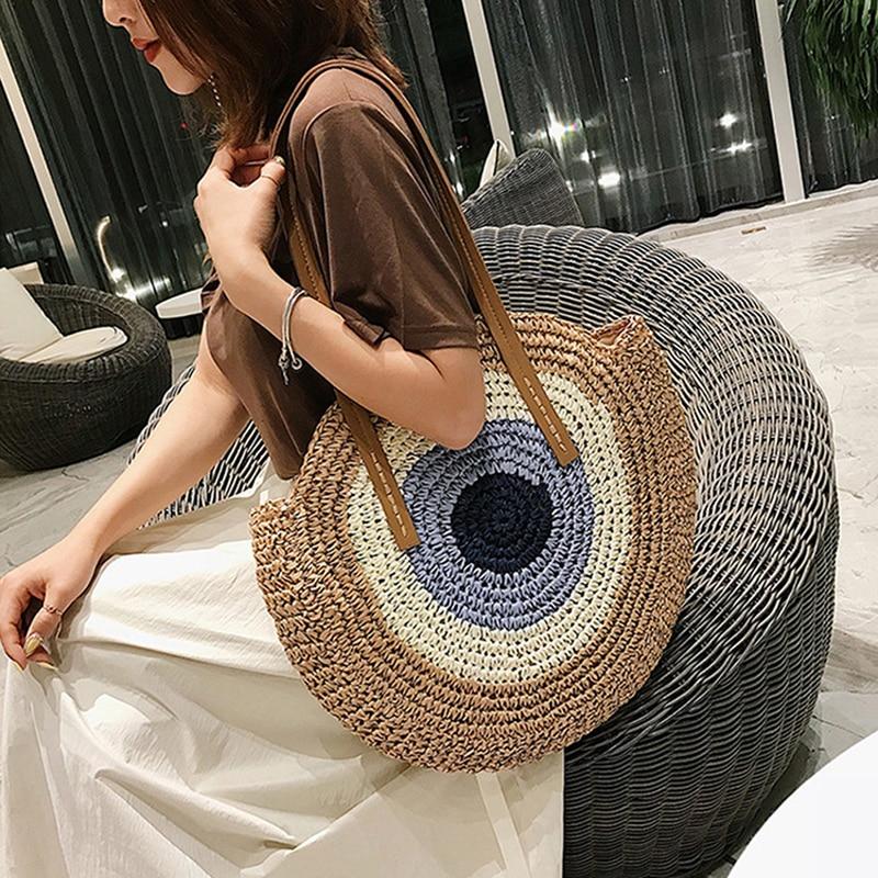 Round Straw Bags Women Shopping Bag Summer Casual Handmade Woven Circle Rattan Beach Handbags Female Fashion Straw Shoulder Bags