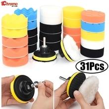 31 Uds almohadillas para pulir autos espuma almohadilla pulidora + adaptador de taladro m10 almohadillas amortiguadoras encerado detalle pintura herramienta de limpieza 3 pulgadas
