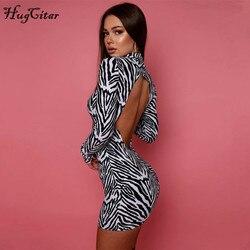Hugcitar 2020 Long Sleeve Zebra Print Backless Skinny Mini Dress Autumn Winter Women Fashion Sexy Party Club Clothings