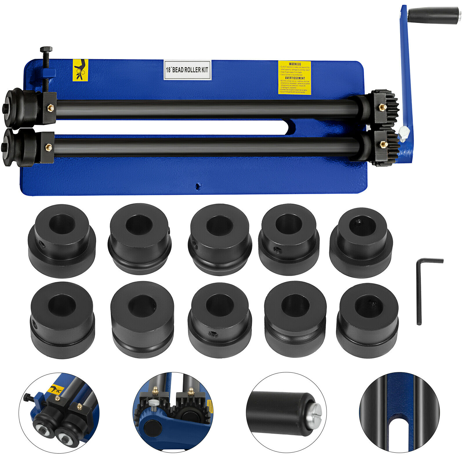"""VEVOR NEW Bead Roller Former Swager Rotary Swaging Machine 460mm 18"""" 1.2mm 6 Roll Sets"""