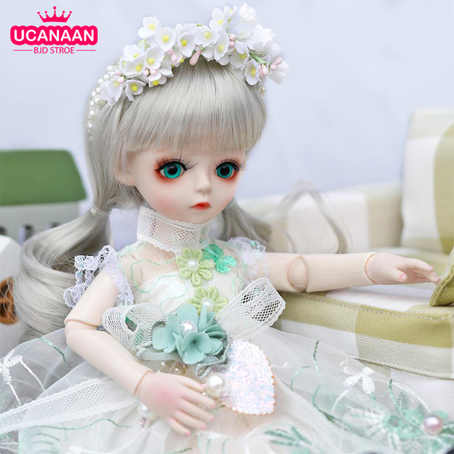 UCanaan BJD Doll 1/6 SD Dolls 30CM Girls Dress UP Toys With Full Outfits Dress Wig Shoes Makeup Best Gifts For Girls 1