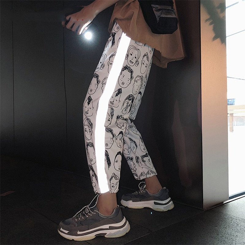 Reflective Streetwear Pants Men Jogger Ankle-Length Harem Pants Men Clothes 2019 Joggers Trousers Men Pants Casual XXL