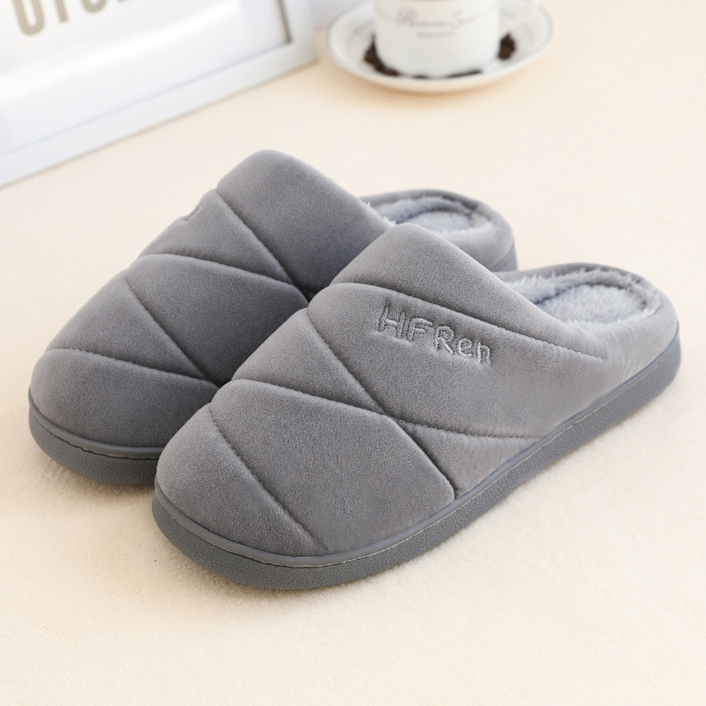 Men Indoor Slippers Short Plush Spring Autumn Flat Shoes Male Home Bedroom Slides Gray Slip On Female House Floor Slippers