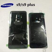 100% original samsung galaxy s9 g960 s9 + plus g965 volta vidro da bateria capa traseira porta habitação caso de volta vidro capa peças