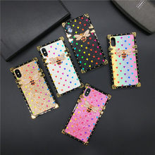 Luxury Glitter Cover Love Heart Bee Square Case for Huawei Mate 20 Pro 30 P30 Lite P20 Honor 20 V30 8X 10 Nova 6 5 3 3i Y6 Y7 Y9(China)