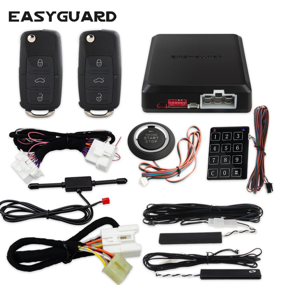 EASYGUARD Plug & Play CAN BUS fit for Volkswagen PKE car alarm system remote starter push button start touch entry smart key kit