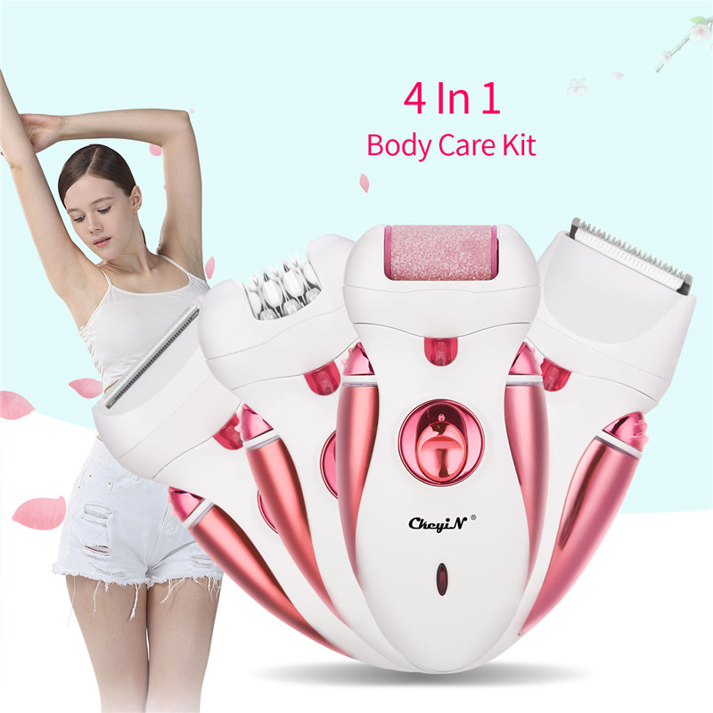 Image 3 - 4 In 1 Women Epilator Electric Female Depilador Lady Shaver Razor Rechargeable Bikini Trimmer Body Facial Hair Removal-in Epilators from Home Appliances