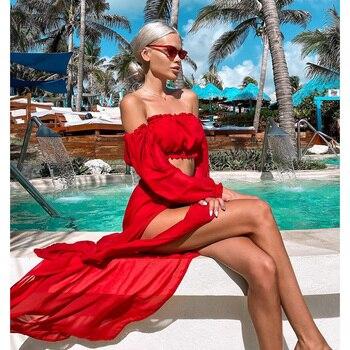 2020 Bikini Beach Cover Up Swimsuit Two Piece Dress Swimwear Women Summer Ladies Bathing Suit Solid Wear Tunic