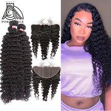 Aplique brasileiro, 20 30 40 Polegada cabelo profundo 3 4 pacotes com 13x4 renda água frontal onda dupla pacote desenhado e fechamento