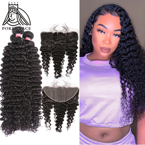 28 30 40 Inch Deep Wave Brazilian Hair Weave 3 4 Bundles With 13X4 Lace Frontal Water Wave Curly Double Drawn Bundle And Closure(China)