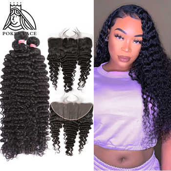 28 30 40 Inch Deep Wave Brazilian Hair Weave 3 4 Bundles With 13X4 Lace Frontal Water Wave Curly Double Drawn Bundle And Closure - DISCOUNT ITEM  54 OFF Hair Extensions & Wigs