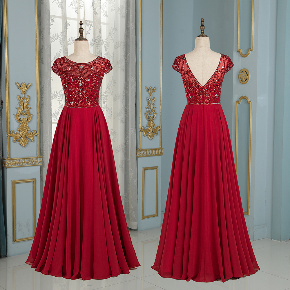 2019 Long tulle   Prom     Dresses   floor length major beading with Crystal sleeveless Sexy V back Special Occasion formal party wear