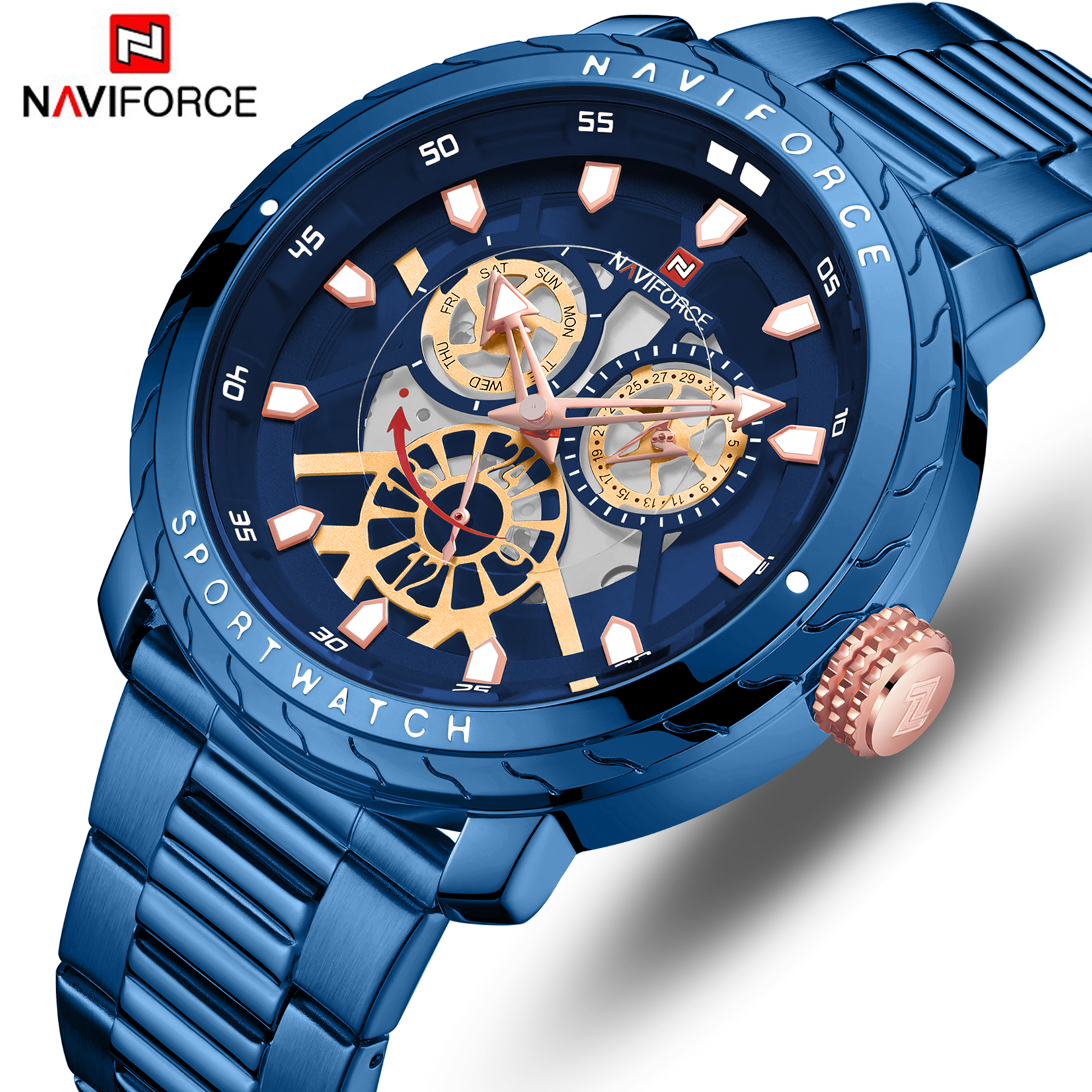 NAVIFORCE Men Watch Top Brand Luxury Quartz Mens Watches Waterproof Date Clock Male Sports Steel Wrist Watch Relogio Masculino