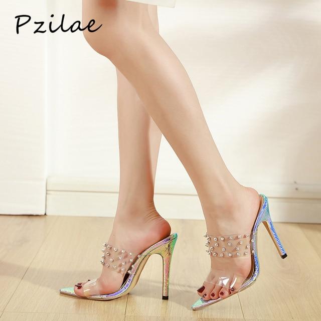 Pzilae 2020 women slippers pumps fashion PVC transparent shoes slides open toe pointed sexy rivet multi color heels flip flops