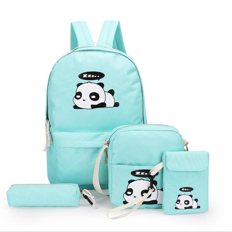 Panda Bag Female Canvas School Backpack Set For Boys With Girls Teenagers Laptop Bagpack Women Crossbody Pencil Case Child