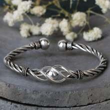 Женский винтажный браслет из серебра 100% пробы с плетением
