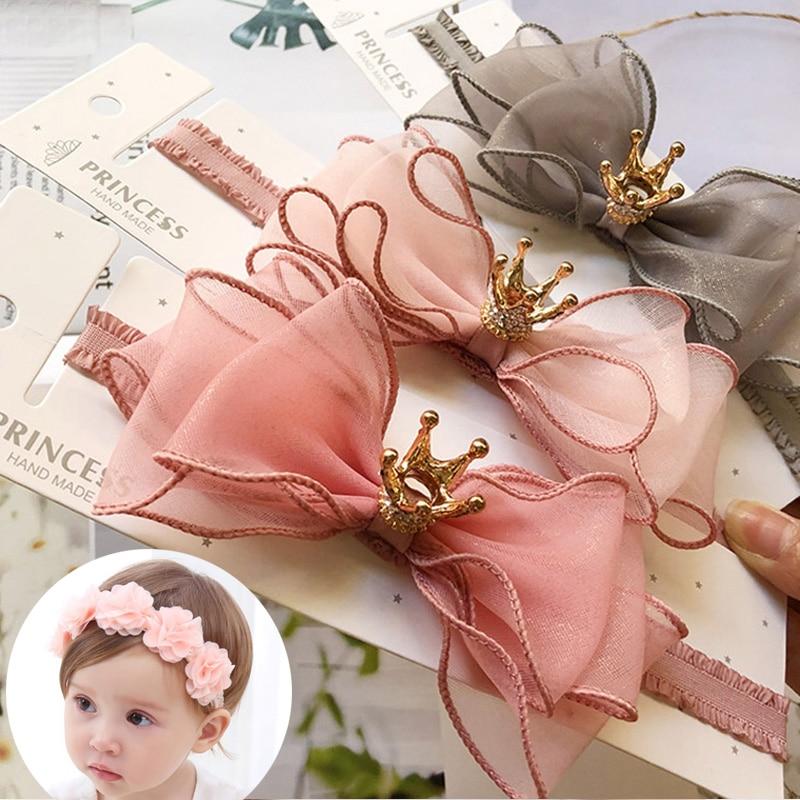 Flower Baby Headband Lace Bows Crown Kids Baby Girl Headbands Turban Elastic Princess Hair Band Haarband Baby Hair Accessories(China)