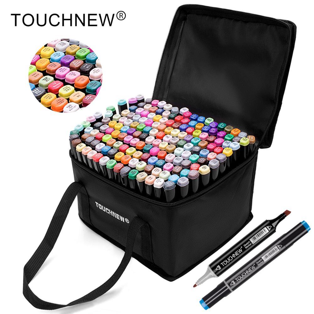 Touchnew marcadores permanentes marcadores de tinta álcool escova dupla dicas marcador de desenho profissional conjunto arte design 30/40/60/80/168 cores