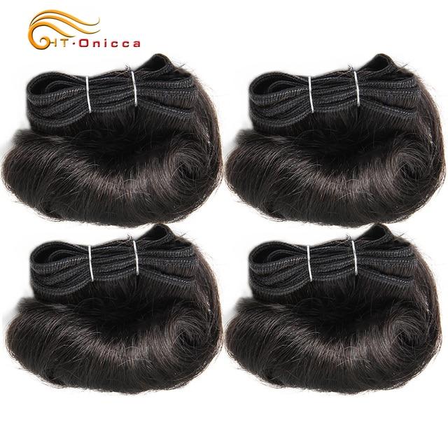 Brazilian Curly Hair Weave Bundles 100% Human Hair 4 Bundles Afro-b 1B 30 Bundles Hair Extension 5 5 6 7 Inch Htonicca Remy Hair 1