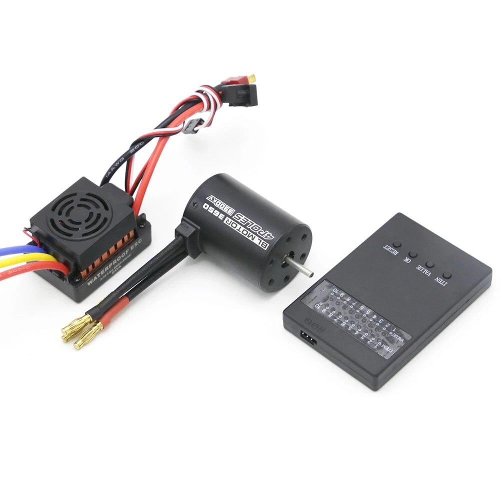 Rc Waterproof 3650 3900KV RC Brushless Motor & 60A ESC & Programmer Card For 1/10 RC Car Truck Motor Kit