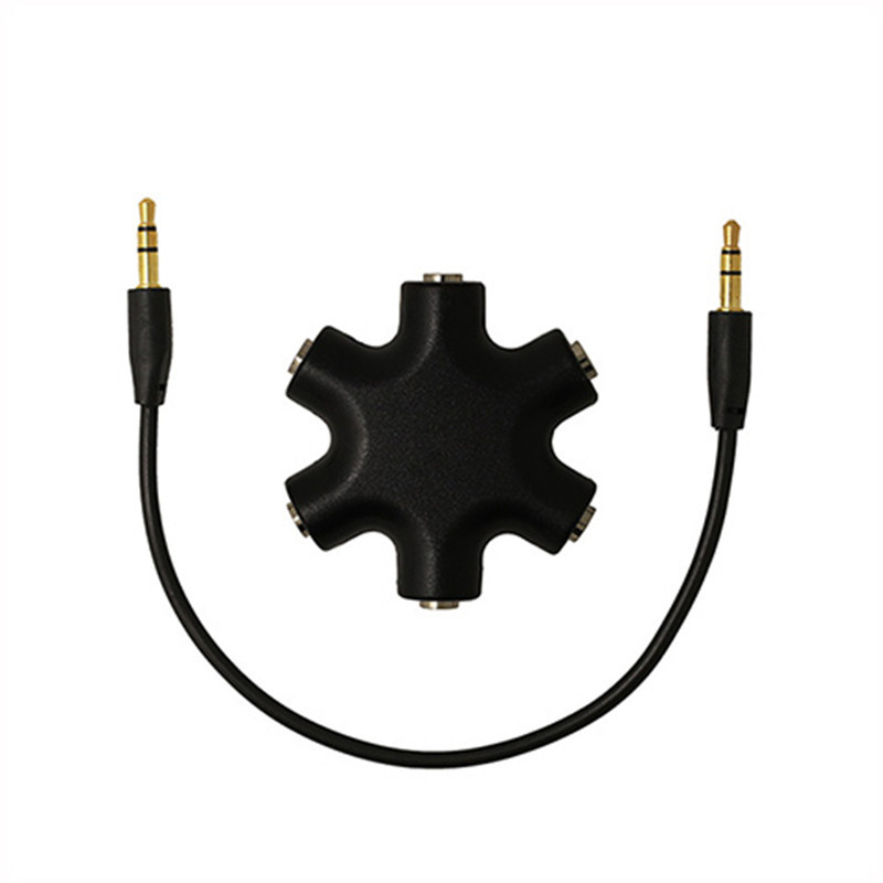 New 3.5mm Headphone Earphone Audio Splitter 1 Male to 2 3 4 <font><b>5</b></font> Female Port Cable Cord image