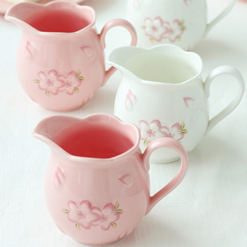 Direct sales new small fresh cherry ceramic couple cup exquisite cherry blossom flower delicate embossed coffee milk jug