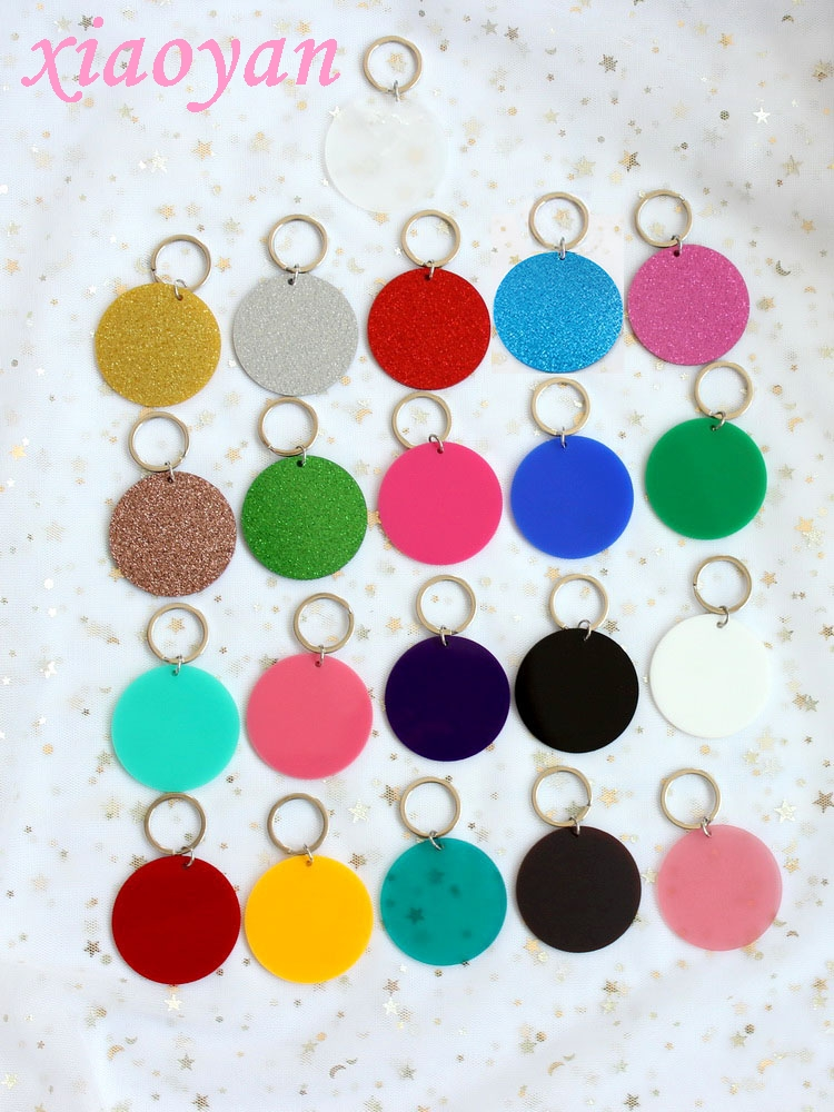 63mm Acrylic Round Keychain Monogram Matt Glitter Clear Blank Circle Monogram Keychain With Ring 2.5inches  Laser Cut-KC012