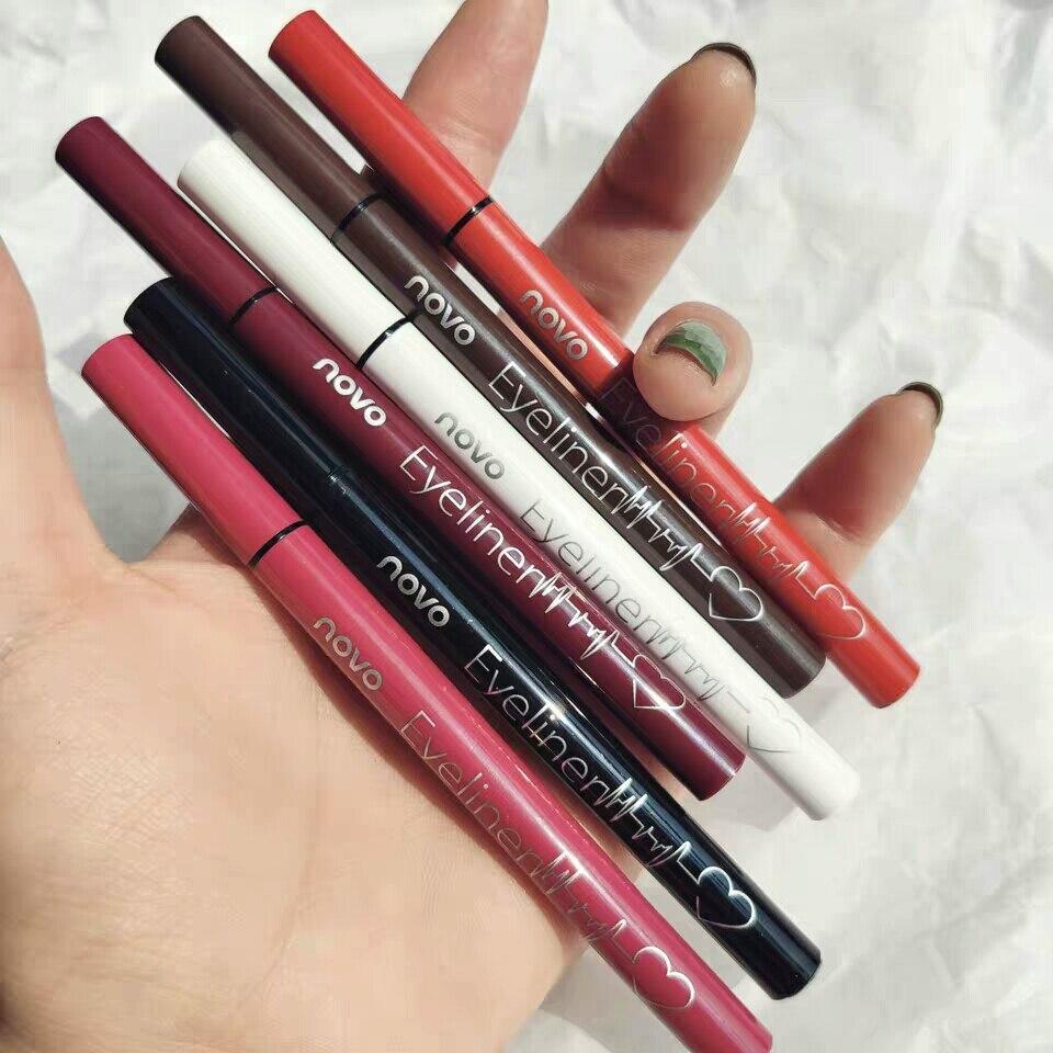 Coloré imperméable longue durée Eyeliner 6 couleurs mat liquide Eyeliner crayon Pigment fête Durable naturel fête