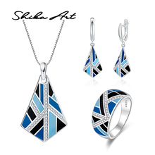 SHIKA ART Blue and Black Geometric  Ring Earrings Pendant Set for Women 925 Sterling Silver Chic Fashion Jewelry HANDMADE Enamel chic flower shape and hollow out embellished black and blue sunglasses for women