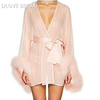 Blush Pink Chiffon Short Bridal Wedding Robe with Marabou Trim on Sleeve Sash Short Night Gown Pajamas