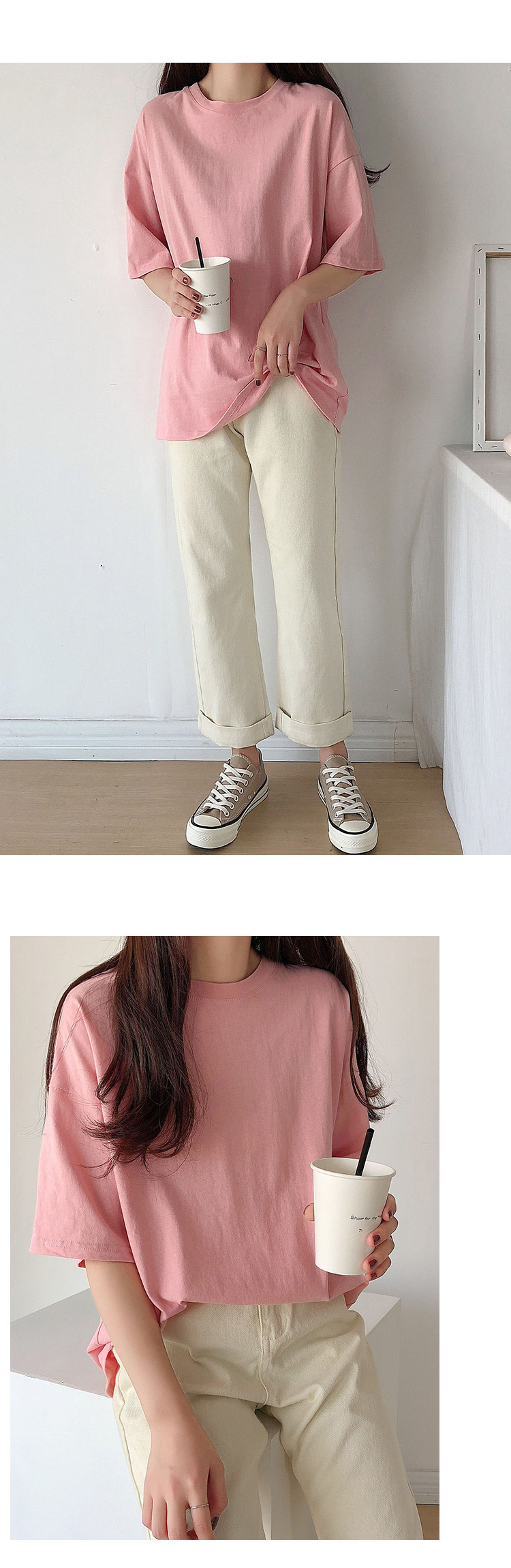 Ha0bd4128893e4f42b56ea90e02f7a116H - Summer O-Neck Short Sleeves Minimalist Loose Basic T-Shirt