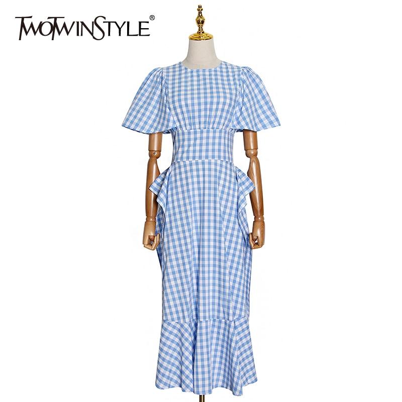TWOTWINSTYLE Patchwork Plaid Women Dress O Neck Short Sleeve High Waist Ruffle Hit Color Elegant Dresses Female 2020 New Style