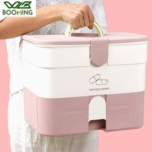WBBOOMING 3 Colors Big Space Home Care Medicine Cabinet Plastic Storage Boxes Portable And Fashion Color Storage Boxes & Bins