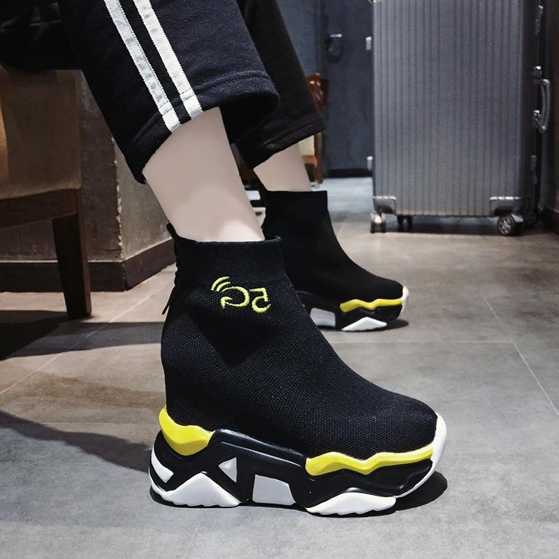 Womens Sneakers Shoes 2018 Fashion Tennis Female Platform Woman 2019 Socks Pinkies shoes Designer Trainers Summer Thick High PU
