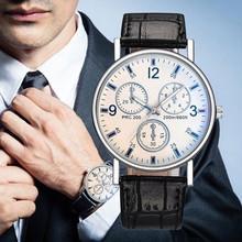 Moda męskie zegarki wypoczynek skórzane męskie zegarki Reloj Hombre zegarki kwarcowe zegarki ze stopu szkła rabaty zegarki męskie 2020 tanie tanio YOLAKO Klamra CN (pochodzenie) simple QUARTZ NONE Nie wodoodporne ALLOY Szkło Mens Watches ROUND Nie pakiet Brak watches mens 2020