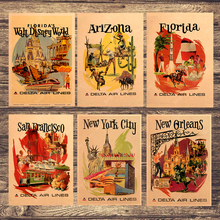 Cuadros de pared vintage de Papel Kraft con anuncios de viajes de America Airlines para regalo de decoración del hogar