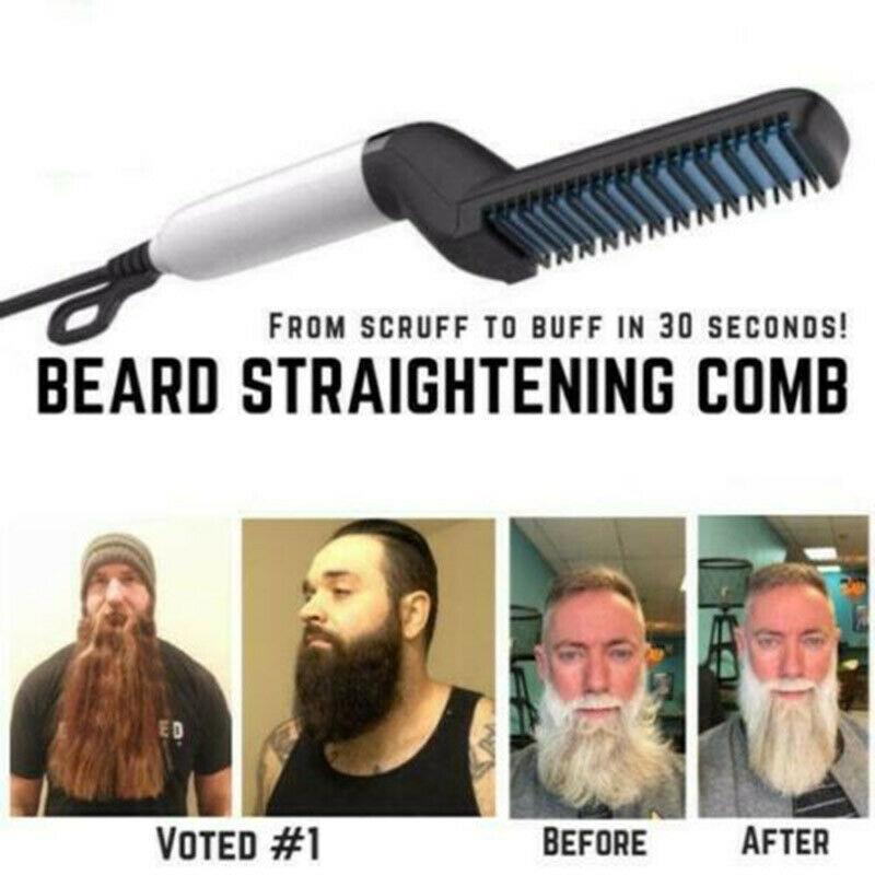 Hair Curling Iron  Men's All In One Ceramic Hair Styling Iron Comb Beard Straightener Curler Set Quick Hair Styler For Men