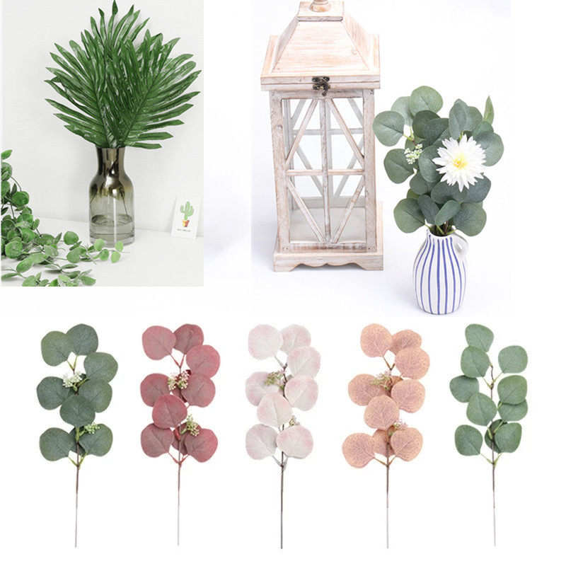 Artificial Palm Leaves Eucalyptus Leaves DIY Wedding Decoration Green Plant Photo props Party decoration Home decoration
