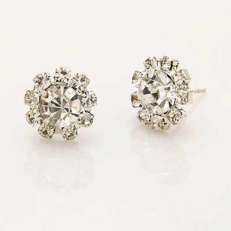 New Style Fashion Shiny Sunflowers Crystal Earrings Wedding Jewelry Accessories