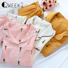 QWEEK Pajamas for Women 2020 Nightwear Set Long Sleeve Cute Sleepwear Cotton Pyjamas Women Gauze Thin Carrot Print Pijama Mujer