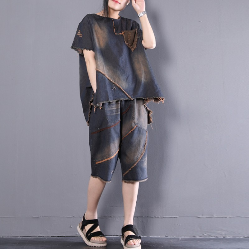 Summer Loose Womens Denim Two Piece Outfits Short Sleeve Asymmetrical O-Neck Pullover Top Tees Elastic Waist Knee Length Shorts