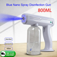 800 ml pulverizador desinfetante elétrico sem fio desinfecta a luz azul nano pistola de pulverizador de vapor esterilização nano pistola de pulverizador para o escritório em casa