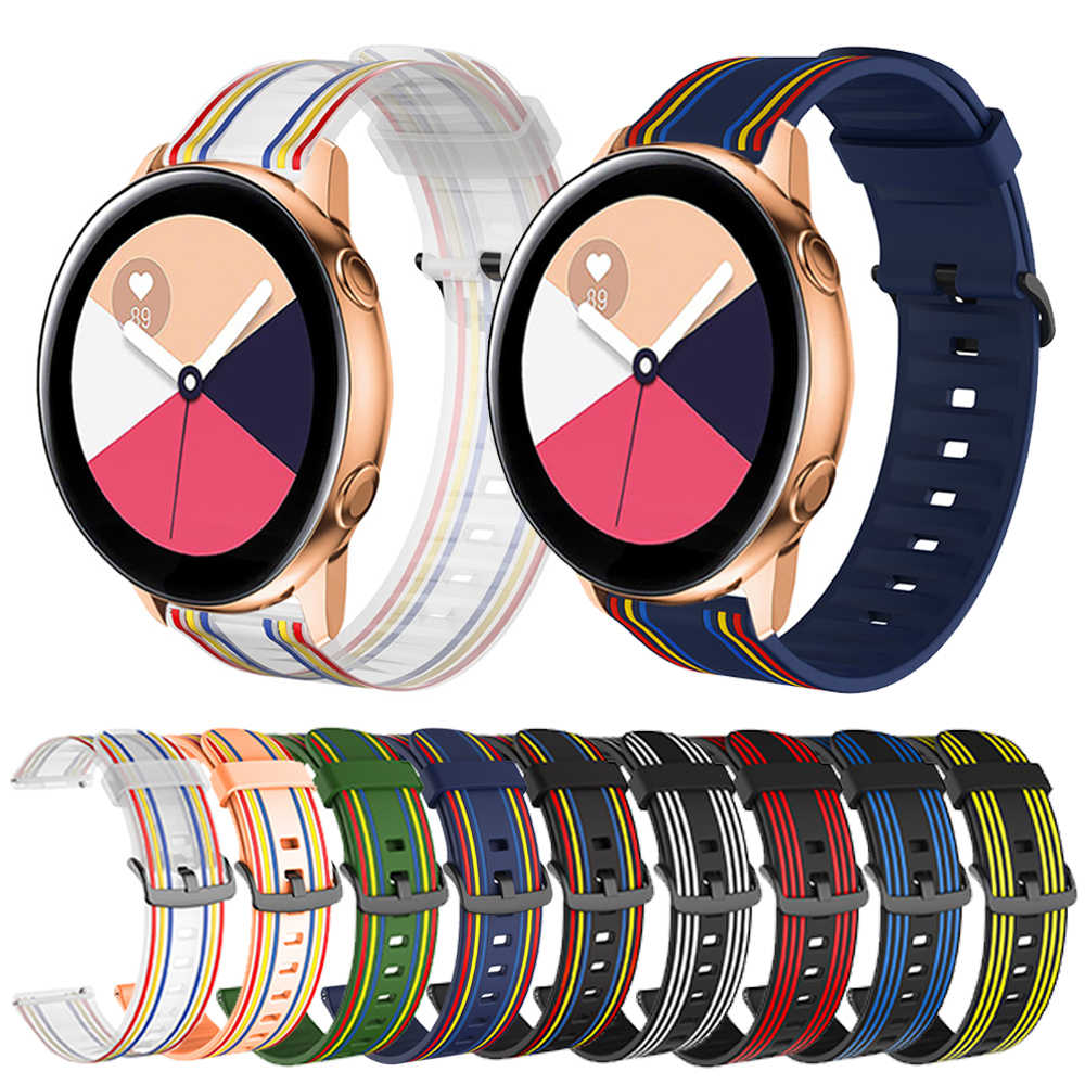 Bracelet en Silicone, 20mm 22mm, pour Samsung Galaxy 42mm 46mm, Active 2 Gear S2 S3, Huawei Huami montre intelligente