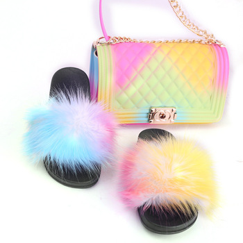 Fox Fur Slides Shoes with Rainbow Colorful Jelly Shoulder Bag Set Candy Crossbody PVC Chains Bags Shoes and Bag Sets Drop Ship italian design purple shoes and bag sets women shoes and bag set med heel african matching shoes and bag set decorated mm1046