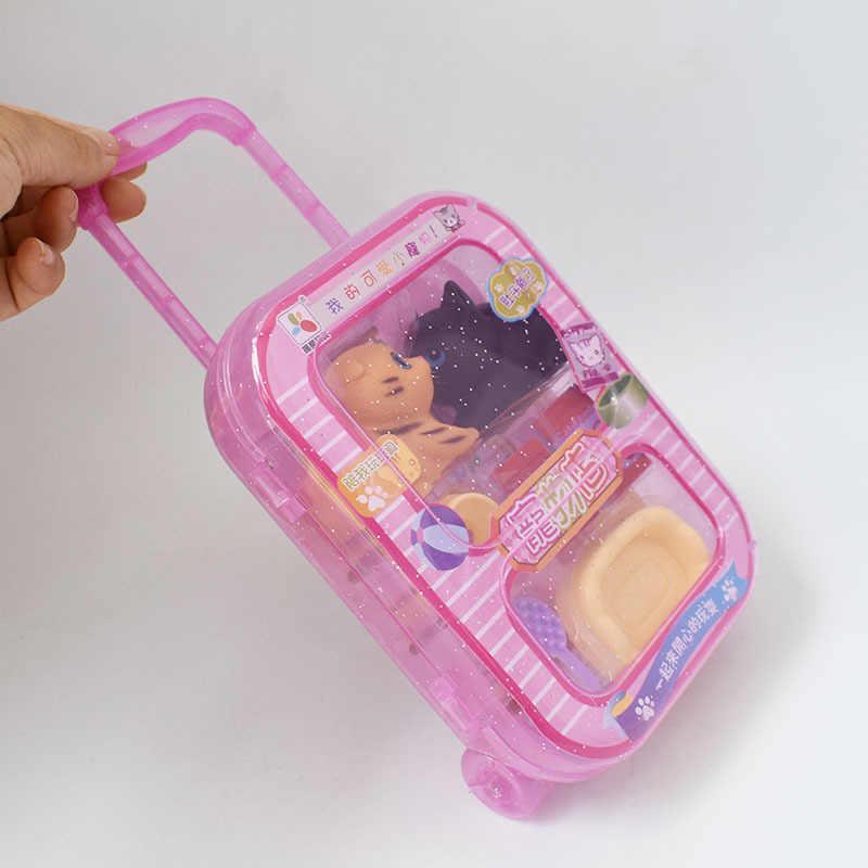 Juego de casa para niños, tienda de mascotas, juego de juguetes, anillo de compresión suave, modelo de Mascota, Maleta, caja de almacenamiento, juguete