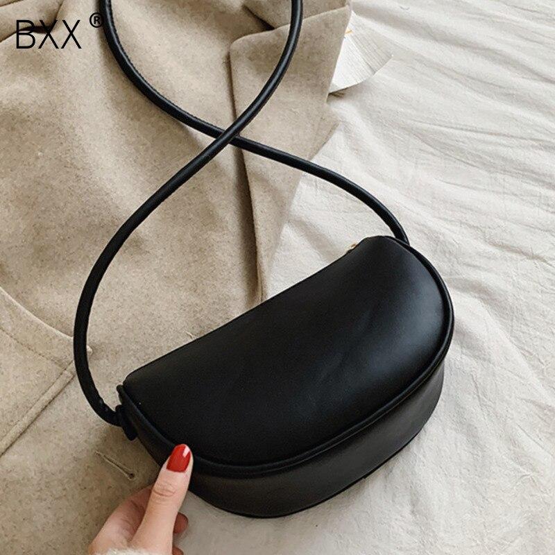 [BXX] Simple PU Leather Crossbody Dumplings Bags For Women 2020 Fashion Shoulder Messenger Bag Lady Travel Handbags Purses HK429