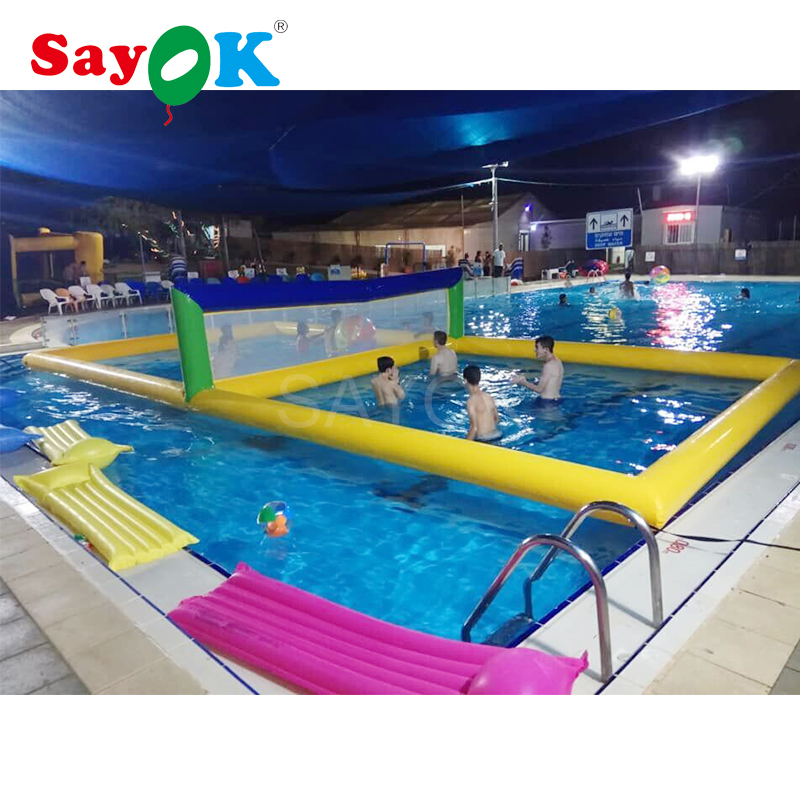 US $799.0 |10x5x1.5mH Inflatable volleyball court for pool volleyball field  inflatable water park equipment with air pump for kids/adults-in Ballons &  ...
