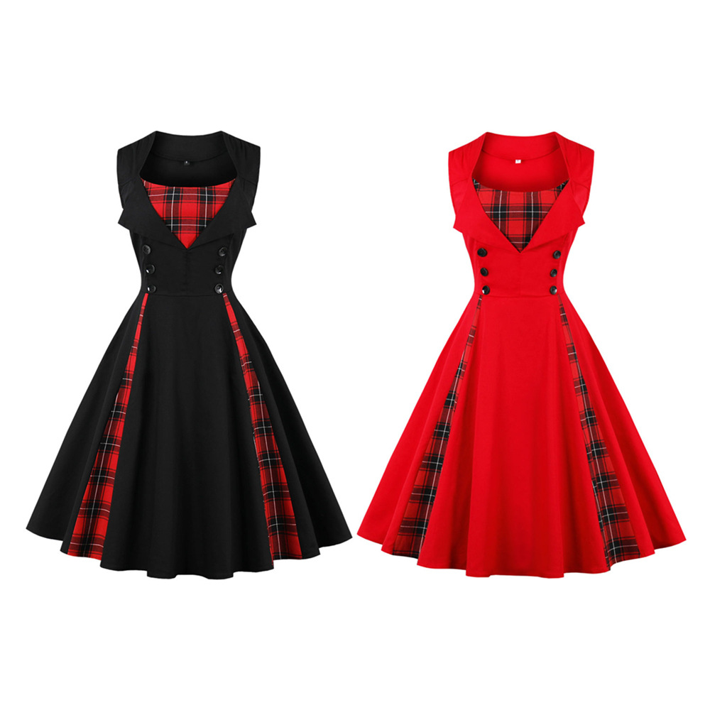 Foreign trade American station European station wish hot sale plus size women's sleeveless simple plaid retro dress 1357